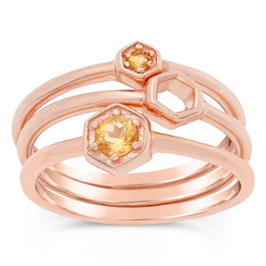 3-stacked Citrine Round Ring in Pink Plated Sterling Silver