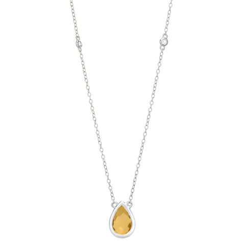 Birthstone Pear Necklace with White Topaz Accent in Sterling Silver