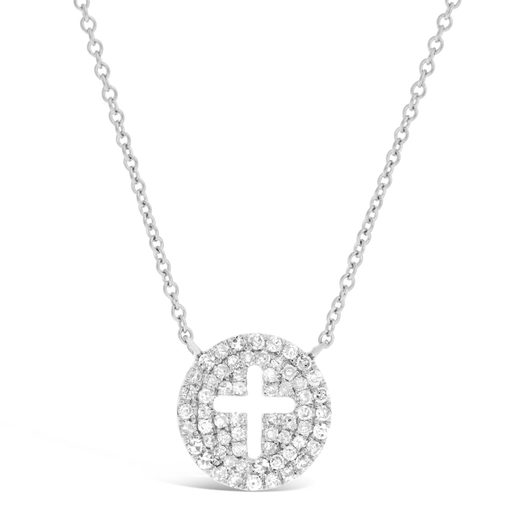 Diamond Accent Circle with Cross Cut-Out Pendant in 14K White Gold