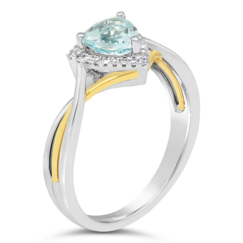 Triangle Gemstone Ring with Diamond Accent in Yellow & White Gold