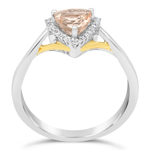 Image of Triangle Gemstone Ring with Diamond Accent in Yellow & White Gold