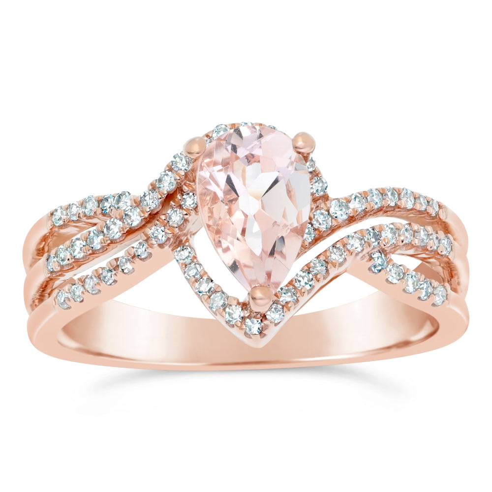 577e2b93c Pear Shape Morganite Ring with Diamond Accent in 10K Rose Gold. Tap to  expand