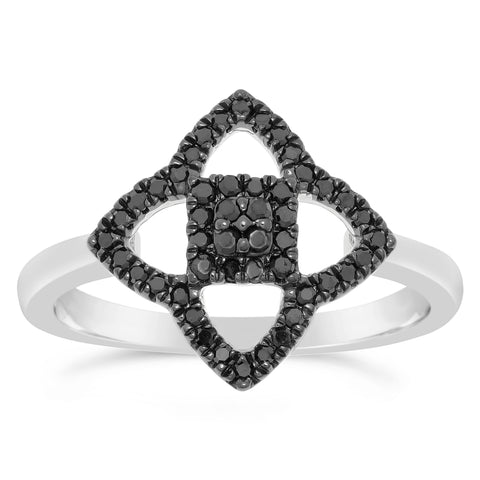 14K Gold Ring with Black Diamond Accent
