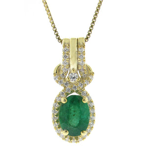 Gemstone Oval Shape Pendant with Diamond Accent in 10K Gold
