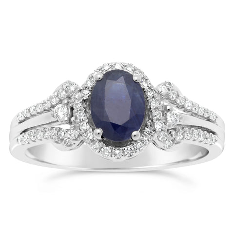 Gemstone Oval Ring with Diamond Accent in 10K Gold