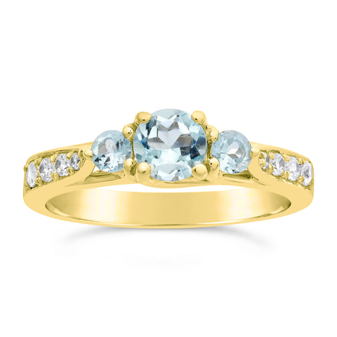 Image of Round Gemstone with Diamond Accent in Gold