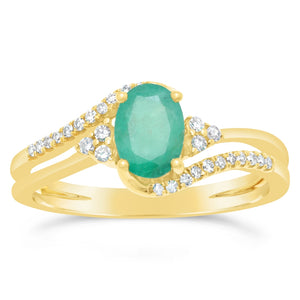 Oval Gemstone Ring with Diamond Accent in 10K Gold