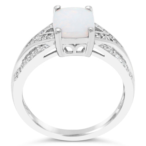 Image of Cushion Shape Gemstone and White Topaz Ring in Silver