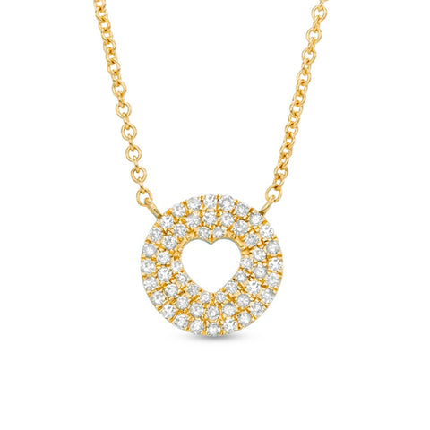 Diamond Accent Circle with Hammered Cut-Out Pendant with in 14K Gold