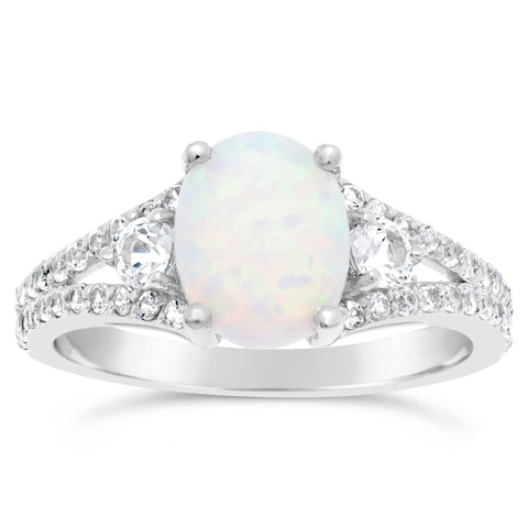 Image of Oval Shape Gemstone and White Topaz Ring in Sterling Silver