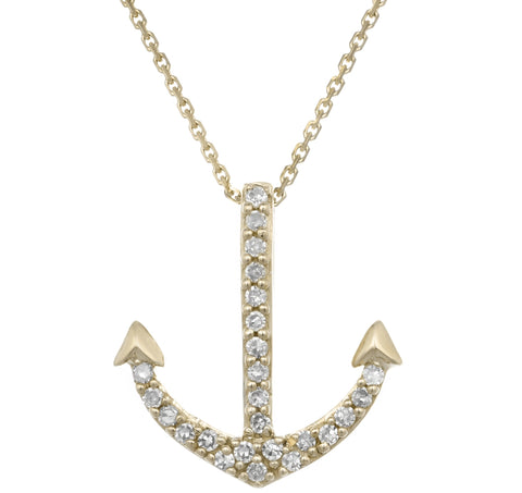 Yellow Gold Anchor Pendant with Diamond Accent
