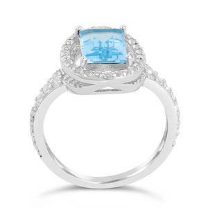 Emerald Cut Gemstone Ring with White Topaz Accent in Sterling Silver