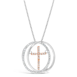 Two Tone Dancing Cross Diamond Pendant in 2 Micron Rose Gold Plated Silver