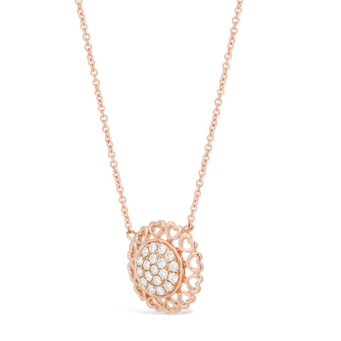 Hammered Frame Necklace with Diamond Accent in 2 Micron Rose Gold Plated Silver