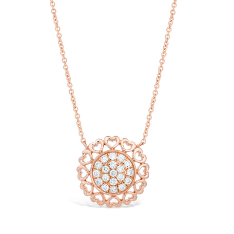 Image of Hammered Frame Necklace with Diamond Accent in 2 Micron Rose Gold Plated Silver