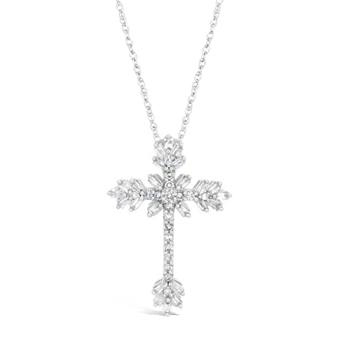Diamond Accent Cross Pendant in 10K White Gold