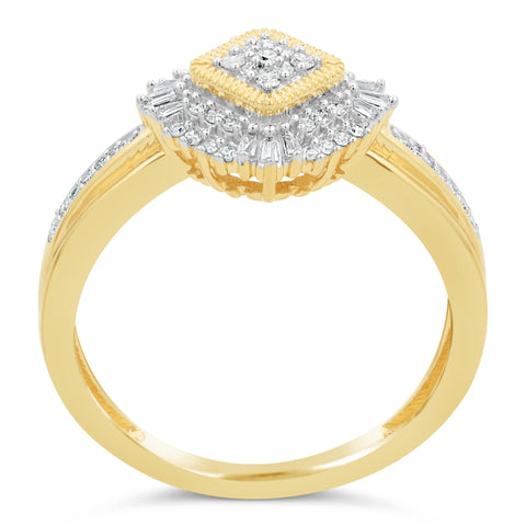 Round and Baguette Diamond Ring in 10K Gold