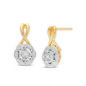 Diamond Earrings in 2 Micron Gold Plated Silver
