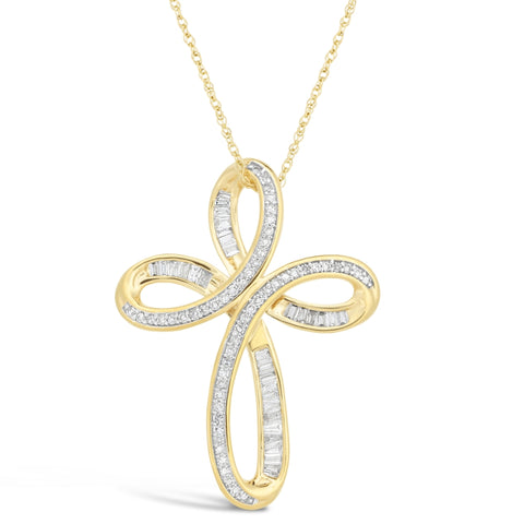 Diamond Accent Cross Pendant in 10K Yellow Gold