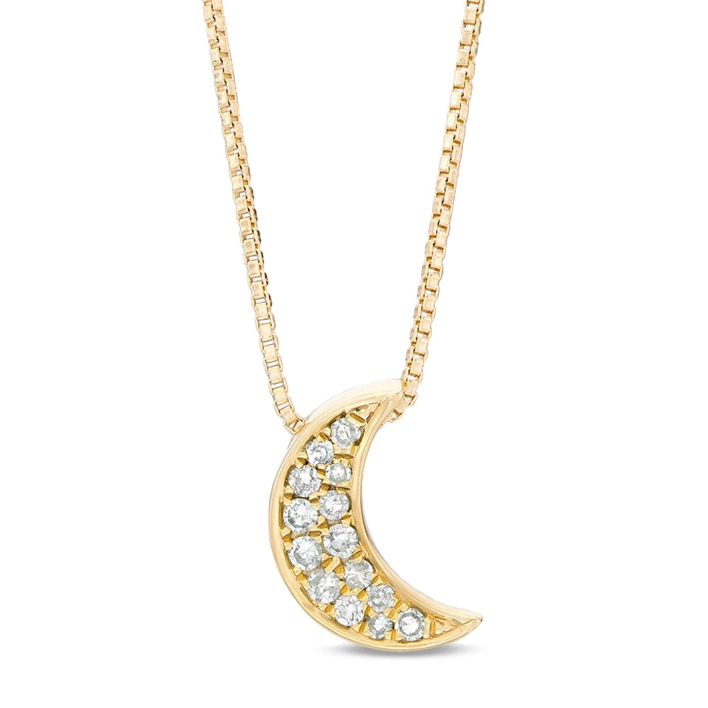 Moon Pendant with Diamond Accent in Gold Plated Silver