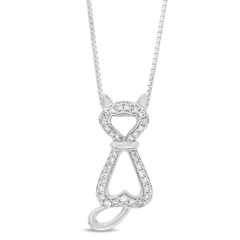 Image of Sterling Silver Cat Pendant with Diamond Accent