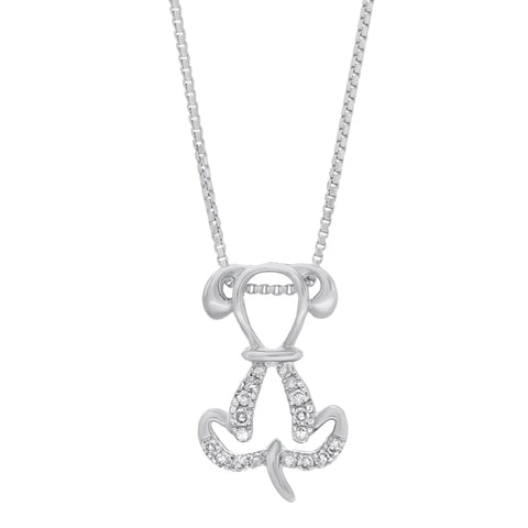 Image of Sterling Silver Dog Pendant with Diamond Accent