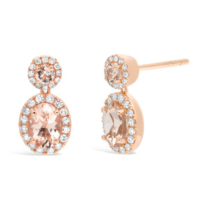Gemstone Oval & Round Earrings with Diamond Accent in 10K Gold