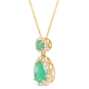 Gemstone Pear & Round Pendant with Diamond Accent in 10K Gold