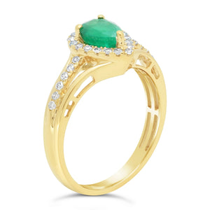 Gemstone Pear Ring with Diamond Accent in 10K Gold