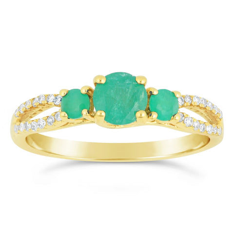 Round Shape Gemstone Ring with Diamond Accent in 10K Gold