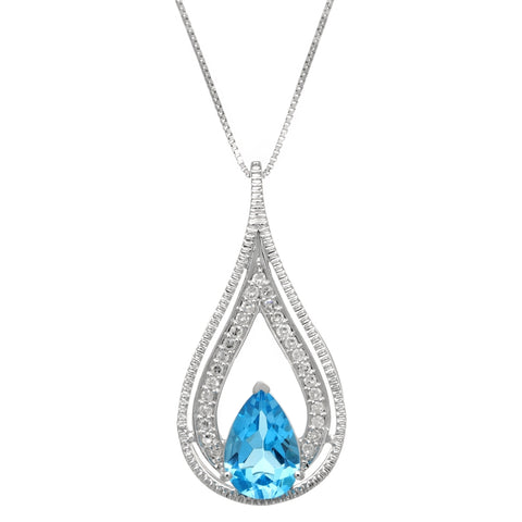 Image of Gemstone Pear & .14 ct Diamond Pendant in 10K Gold