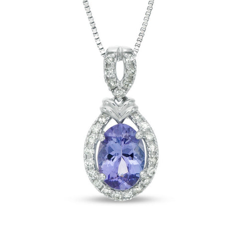 Tanzanite Oval Shaped Pendant with .7 ct Diamond Accent in White Gold