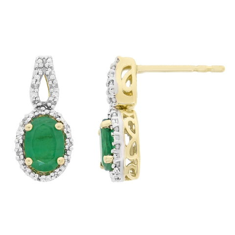 Image of Gemstone Oval Earrings with Diamond Accent in 10K Gold