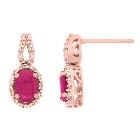 Gemstone Oval Earrings with .20 ct Diamond Accent in 10K Gold