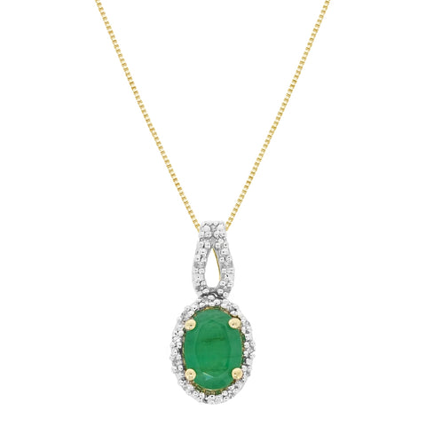 Gemstone Oval Pendant with Diamond Accent in 10K Gold