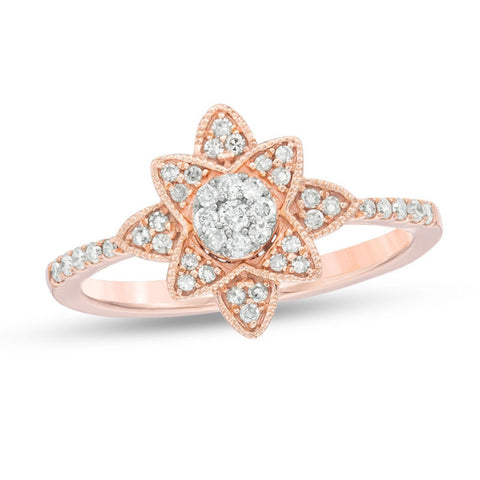 Pink Gold Flower Ring with Diamond Accent