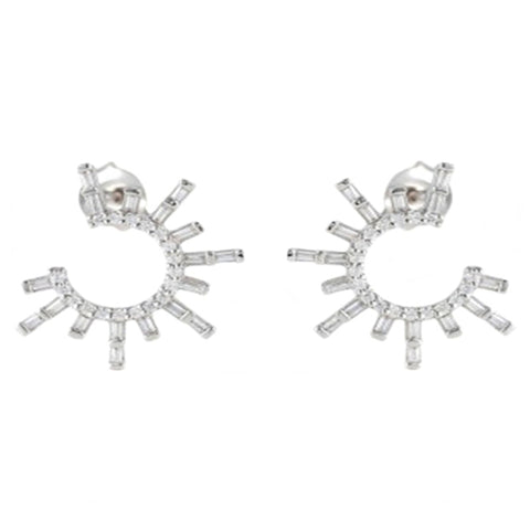 Round Earrings with Baguette Diamonds