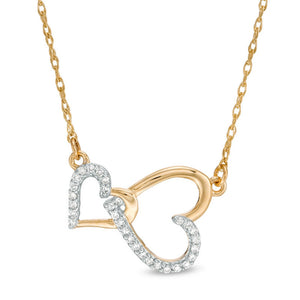 Double Hammered Diamond Pendant in 14K Gold