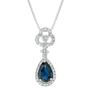 Gemstone Sapphire Pendant with Diamond in White Gold