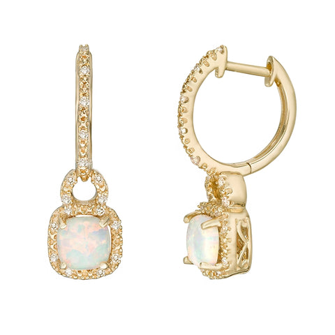 10K Gold Earrings  with Gemstone and Diamond