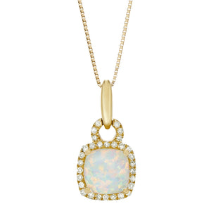 10K Gold Pendant with Gemstone and Diamond