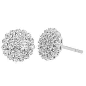 Flower Earrings   with Diamond Accent in 14K Gold
