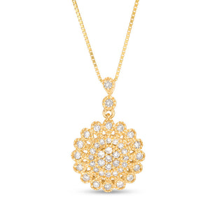 Flower Pendant with Diamonds Accent in 10K Gold