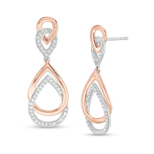 Two Tone Tear Drop Diamond Earrings with Diamond Accent in 10K Gold