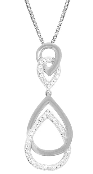 Two Tone Tear Drop Diamond Pendant with Diamond Accent in 10K Gold