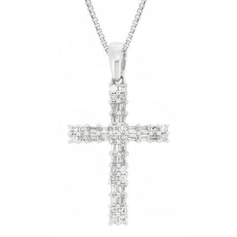 Baguette Diamond Cross Pendant in 10K White Gold