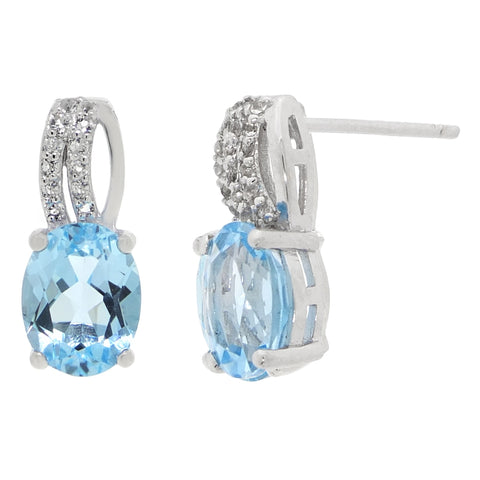 Image of Sterling Silver Gemstone Earrings