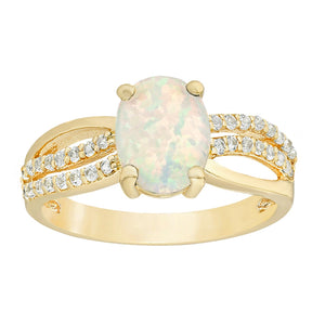 Oval Gemstone Ring with White Topaz Accent in Gold Plated Sterling Silver
