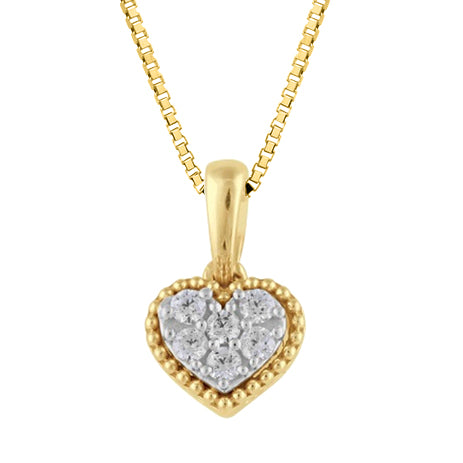 Diamond Hammered Pendant in 14K Gold