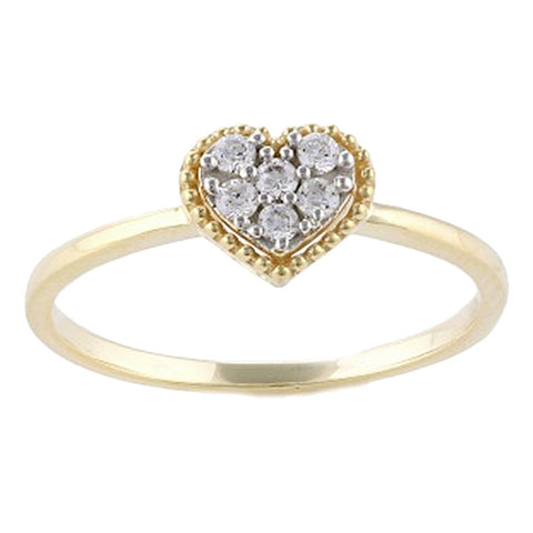 Hammered Shape Diamond Ring in 14K Gold